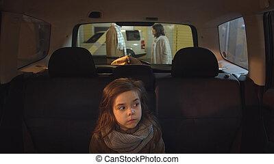 fond, voiture., disputer, séance, parents, girl