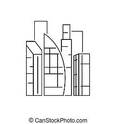 fond, vue, blanc, illustration, dudai, contour, ville