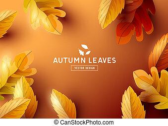 fond, vue, vecteur, sommet, automne