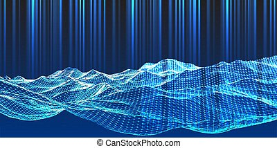 fond, wireframe, 1404, conception, techno, paysage, moderne