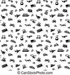 fondale, 10eps, icone, -, seamless, trasporto