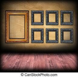 fondale, arte, legno, cornici, parete