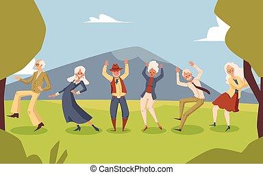 fondale, ballo, illustration., festa, vettore, anziano, appartamento, paesaggio, persone