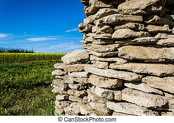 fondale, contro, pietra, vecchio, parete
