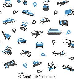 fondale, seamless, trasporto, icone