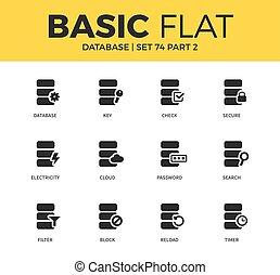 fondamental, base données, ensemble, icônes