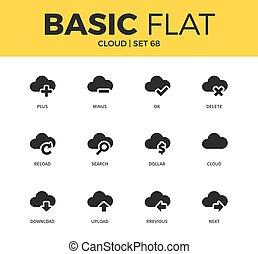 fondamental, ensemble, nuage, icônes