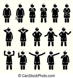 fondamental, poses, postures., docteur