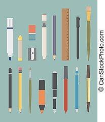 fondamentale, attrezzo, set, disegno, scrittura