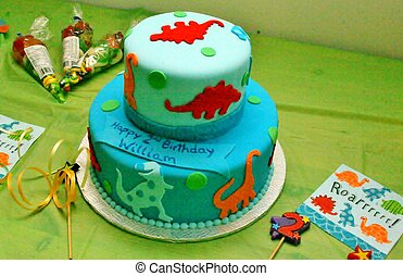 Fondant cake with dinosaurs - Blue double tier fondant cake...