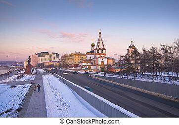 fondation, épiphanie, ville, irkutsk, 1718, sibérie, année, cathédrale, russie