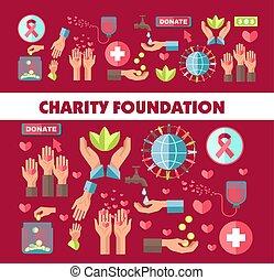 fondation, affiche, donation, vecteur, social, charité