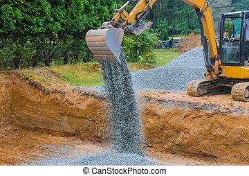 fondation, bâtiment, en mouvement, excavateur, gravier, construction, industriel