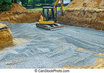 fondation, bâtiment, excavateur, pelleter, creuser, gravier, seau