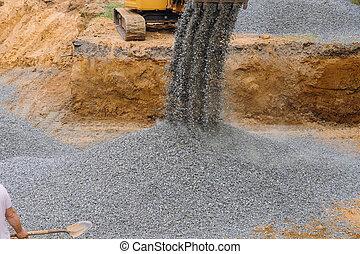 fondation, construction., excavateur, fonctionnement, gravier, matériel construction