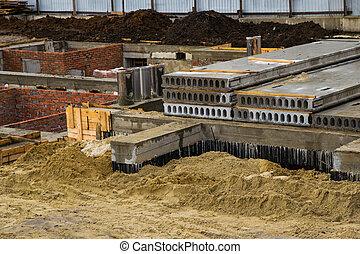 fondation, construction, vue, site, maison