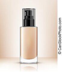 fondation, cream., illustration, réaliste, pompe, vecteur, bouteille, transparent