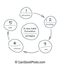 fondation, croquis, habitude, processus, main, diagramme, étape, dessiné, nouveau
