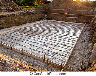 fondation, de, a, cave, dans, emmagasiner construction