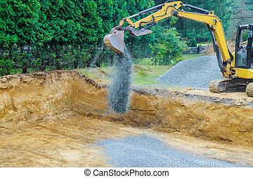 fondation, en mouvement, fonctionnement, bâtiment, excavateur, pierres, construction, gravier