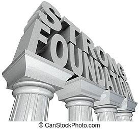 fondation, piliers, mots, fort, marbre, colonnes