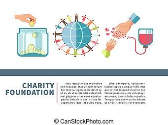 fondation, plat, affiche, fonds, donation, vecteur, conception, sanguine, argent, charité