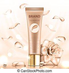 fondation, prime, product., tube, rose., illustration, réaliste, vecteur, arrière-plan beige, doux