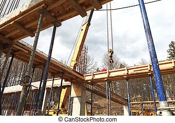 fondation, revêtir d'un aval, plancher, maison, métal, seconde, etagères