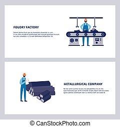 fonderie, illustration., metallurgical, vecteur, ensemble, usine, compagnie, plat, bannière