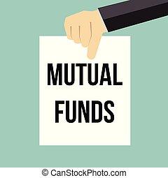 fondi comune investimento, esposizione, carta, testo, uomo