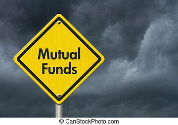 fondi comune investimento, segno giallo, avvertimento, ...