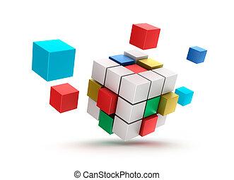 fondo, 3d, cubi, astratto