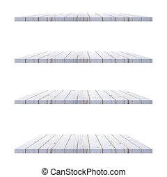 fondo, 4, isolato, mostra, mensole, fotomontaggio, legno, bianco, product., tavola