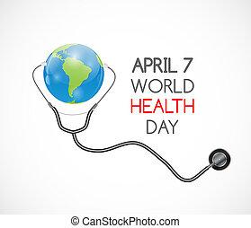 fondo., 7, mundo, abril, salud, día, ilustración