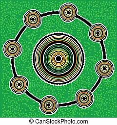 fondo., aborigeno, vettore, arte, verde