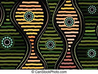 fondo., aborigeno, vettore, arte