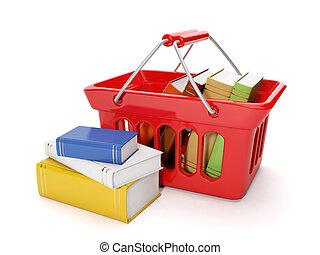 fondo, acquisto, shopping, banda, illustration:, libri, linea, bianco, acquisto, 3d
