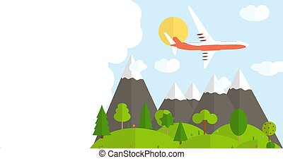 fondo, aeroplano., bandiera, viaggiare, vettore, illustrazione