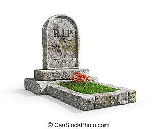 fondo., aislado, blanco, tumba, piedra, pasto o césped, ...