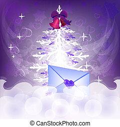fondo, albero, greetings., vettore, lettera, natale
