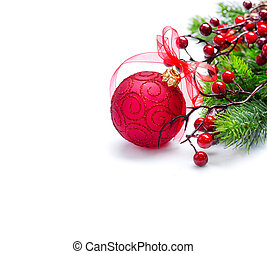 fondo., albero, iisolated, decorazioni, anno, nuovo, natale bianco, rosso