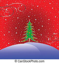 fondo, albero, natale, stelle