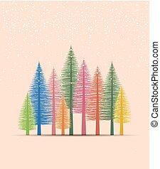 fondo, albero, naturale, natale