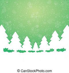 fondo, albero, nevicare verde, stelle, bianco