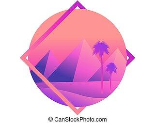 fondo., albero, vista, illustrazione, manifesto, desert., colorito, fondo, palma, piramidi, dune, banner., egiziano, disertare paesaggio, gradients., vettore, pubblicità, tramonto
