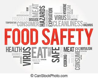 fondo alimento, palabra, nube, concepto, seguridad, collage