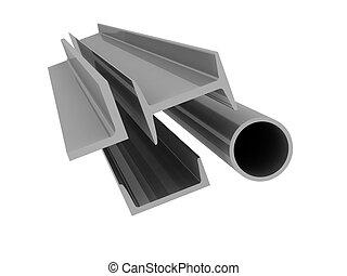 fondo, -, alto, alluminio, profili, tecnologia