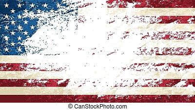 fondo., americano, grunge, bandiera