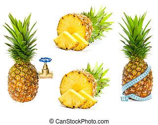 fondo, ananas, bianco