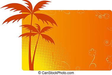 fondo anaranjado, palmas
